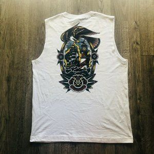 NEW American Traditional Tattoo White Muscle Tank